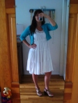 My outfit for today. White summer dress with wedges.
